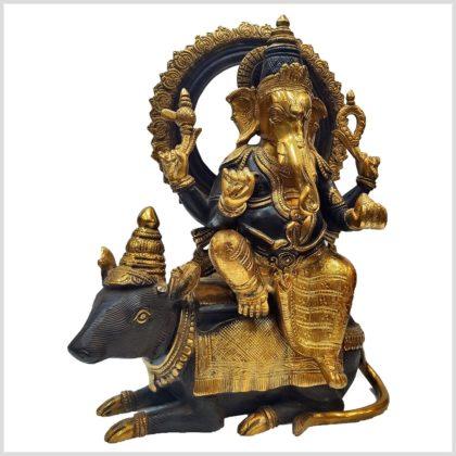 Ganesha auf Ratte 13kg 40cm braungold Seitenansicht
