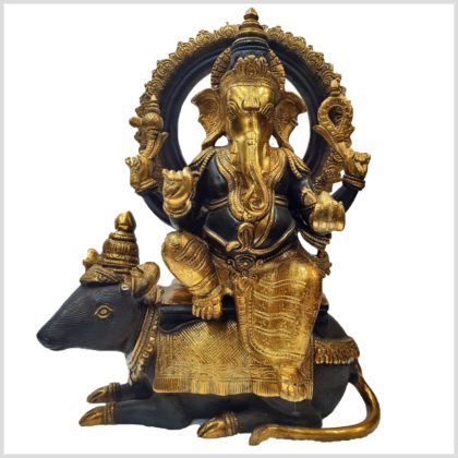 Ganesha auf Ratte 13kg 40cm braungold Vorne