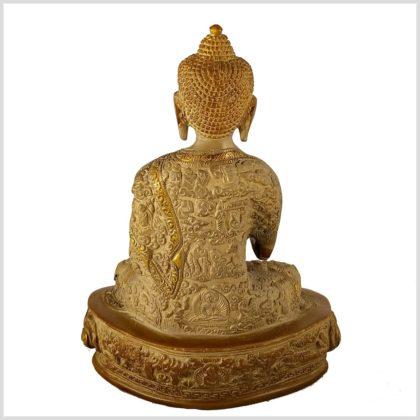 Lehrender Buddha Messing sandbeige 2,8kg Rücken