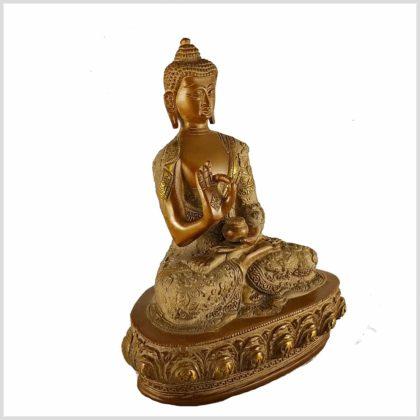 Lehrender Buddha Messing sandbeige 2,8kg Seitenansicht Rechts