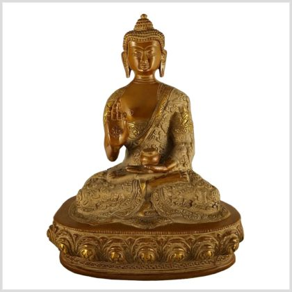 Lehrender Buddha Messing sandbeige 2,8kg Vorderansicht