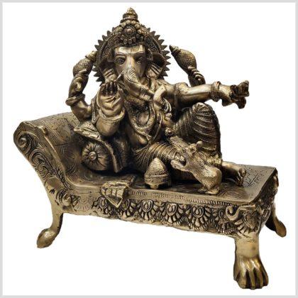 Liegender Ganesha Messing 32cm Seitenansicht