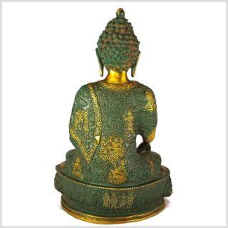 Erleuchteter Buddha 33cm nepalantikgrün Rücken