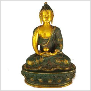 Erleuchteter Buddha 33cm nepalantikgrün Vorderansicht