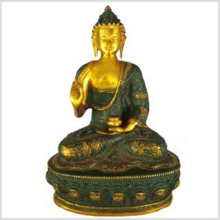 Lehrender Buddha Nepalgrünantik Vorderansicht