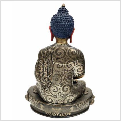 Meditationsbuddha aus Nepal feine Handarbeit versilbert Rücken
