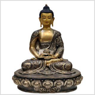 Meditationsbuddha aus Nepal feine Handarbeit versilbert Vorderansicht