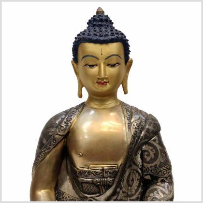 Meditationsbuddha aus Nepal feine Handarbeit versilbert Gesicht