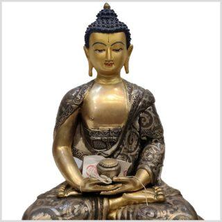 Meditationsbuddha aus Nepal feine Handarbeit versilbert Oberkörper