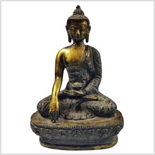 Erdender Buddha Nepalesicher Buddha Feuerverbrannt 25cm Gesamtansicht