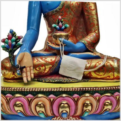 Medizinbuddha Kupfer Handarbeit Blau Bodenplatte