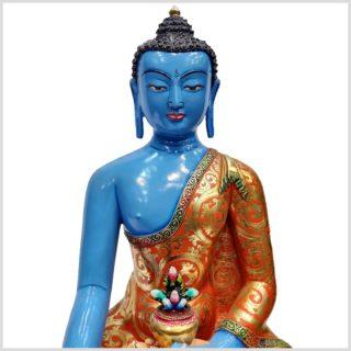 Medizinbuddha Kupfer Handarbeit Blau Gesicht