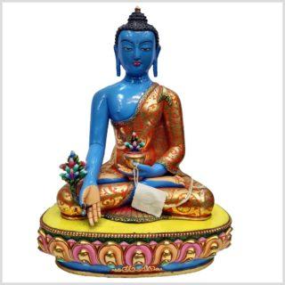 Bhaisajyaguru Medizinbuddha Kupfer Handarbeit Blau Vorderansicht