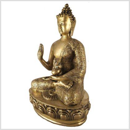 Segnender Buddha 3,5kg Messing Seitenansicht Links