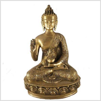 Segnender Buddha 3,5kg Messing Vorderansicht