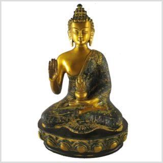 Segnender Buddha 3,5kg Messing antik Vorderansicht