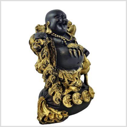 Lachender Buddha mit Münzen rechts