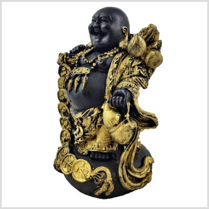 Lachender Buddha mit Münzen Seitenansicht links