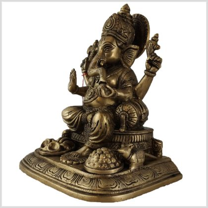 Sitzender Ganesha Messing 5,2kg Seite links