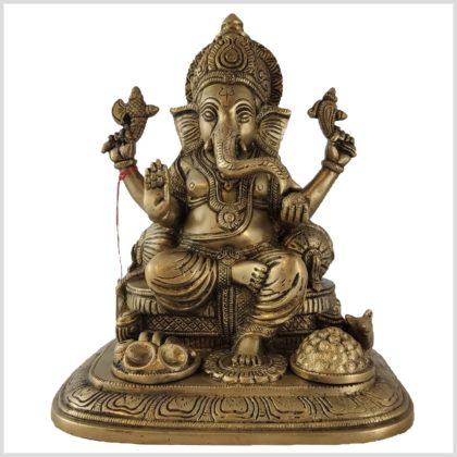 Sitzender Ganesha Messing 5,2kg Vorderansicht