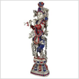 Krishna silber rotblau Steine Seitenansicht