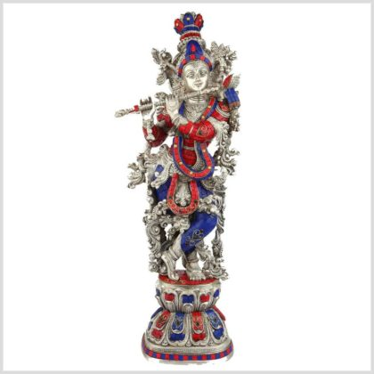 Krishna silber rotblau Steine Vorderansicht