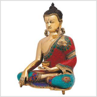 Bhumisparsa Mudra Buddha Kundal mit Steinen Seite Links