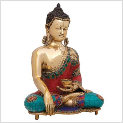 Bhumisparsa Mudra Buddha Kundal mit Steinen Seite rechts