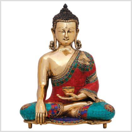 Bhumisparsa Mudra Buddha Kundal mit Steinen Vorderansicht