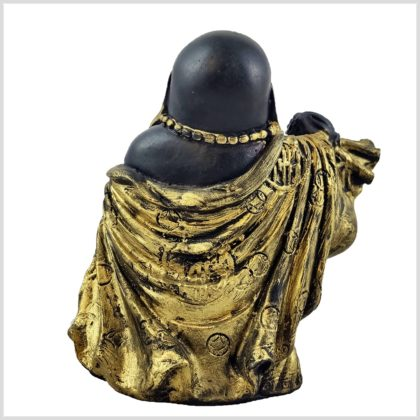 Glücksbuddha schwarzgold 15cm hinten