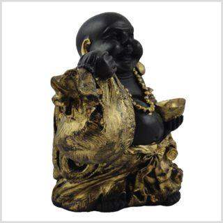 Glücksbuddha schwarzgold 15cm Seitenansicht rechts