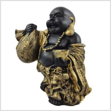 Glücksbuddha schwarzgold 15cm Seitenansicht links