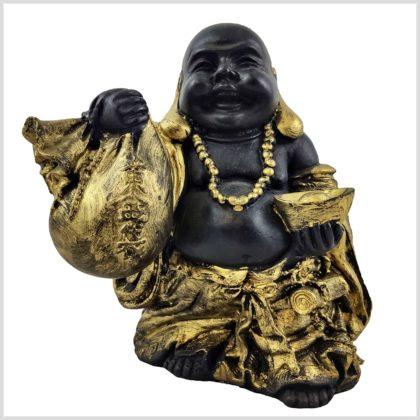 Glücksbuddha schwarzgold 15cm Vorderansicht
