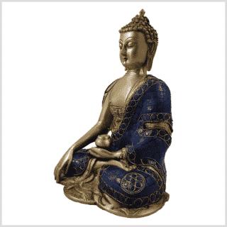 Erdender Buddha Lapislazuli blaue Steine Seitenansicht links