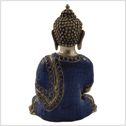 Erdender Buddha Lapislazuli blaue Steine Rücken