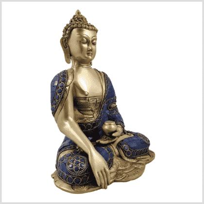 Erdender Buddha Lapislazuli blaue Steine Seitenansicht rechts