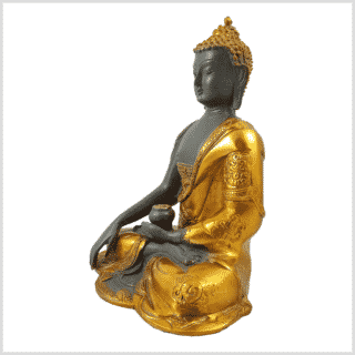 Erdender Buddha Ashtamangala Goldgrau Seitenansicht links