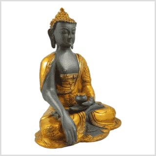 Erdender Buddha Ashtamangala Goldgrau Seitenansicht rechts