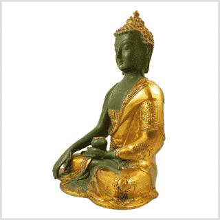 Erdungsbuddha Asthamangala 25cm Messing mintgrün Seite links