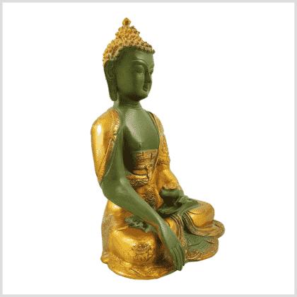 Erdungsbuddha Asthamangala 25cm Messing mintgrün Seite rechts