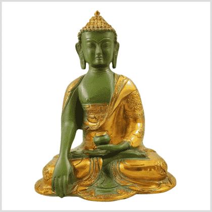 Erdungsbuddha Asthamangala 25cm Messing mintgrün Vorderansicht
