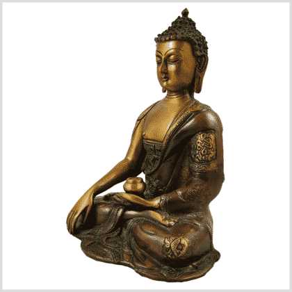 Erdender Buddha Ashtamangala 2,8kg braungrün Seitenansicht links