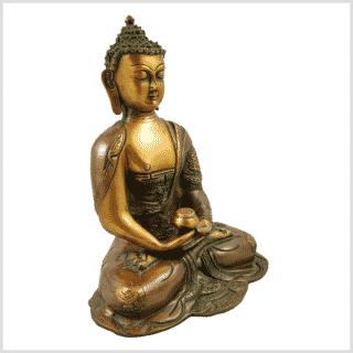 Erleuchtete Buddha Asthamangala Braungrün Seitenansicht rechts