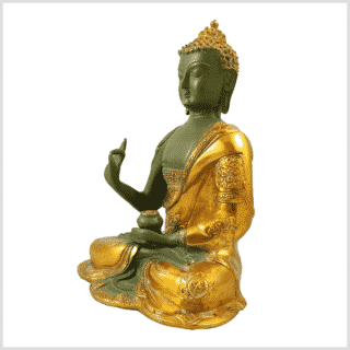 Lehrender Buddha mintgrün gold 2,8kg Seitenansicht links