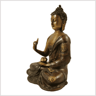 Lehrender Buddha Asthamangala braungrün links