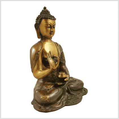 Lehrender Buddha Asthamangala braungrün Seitenansicht rechts