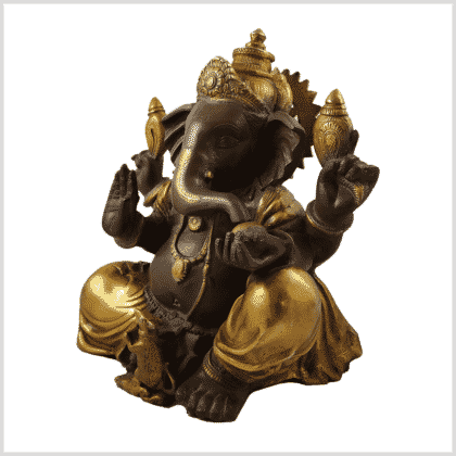 Ganesha 35.5cm 12kg Messing Kaffeebraun Gold Seite links