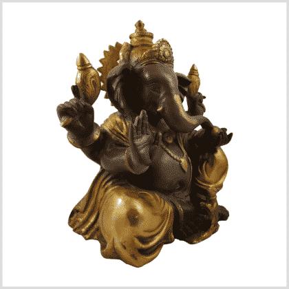 Ganesha 35.5cm 12kg Messing Kaffeebraun Gold Seite rechts