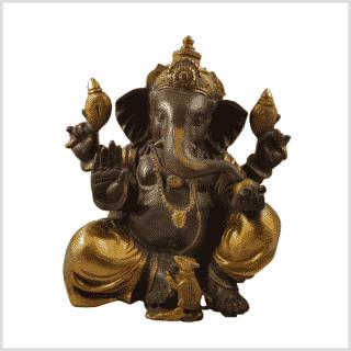 Ganesha 35.5cm 12kg Messing Kaffeebraun Gold Vorderansicht