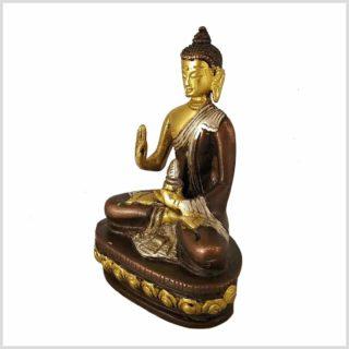Segnender Buddha Messing Tricoloure 12cm Seitenansicht links